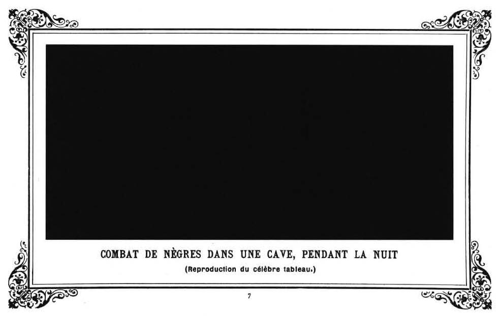 Alphonse Allais, reproduction du tableau de Paul Bilhaud, Combat de Nègres dans un cave, pendant la nuit 1882, in Album primo-avrilesque, Paris 1897, p 7, 12,4 x 18,5 cm