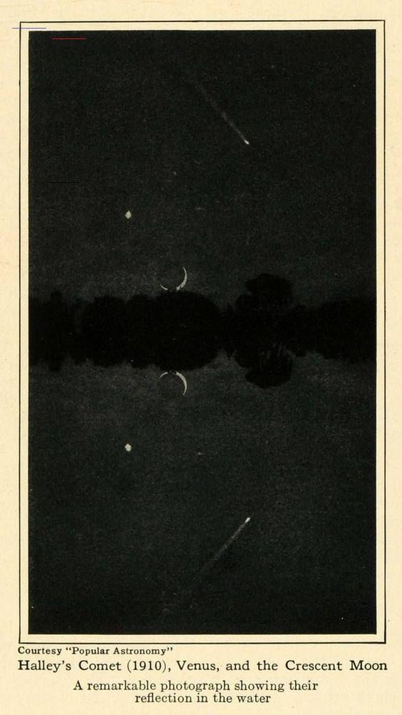 La comète de Halley, Vénus et la lune croissante