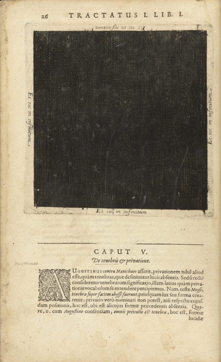 Carré noir de Robert Fludd représentant le néant antérieur à l'univers, extrait de son Utriusque Cosmi (1617)